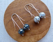 White & Grey Dalmatian Speckled Gold Ball Long Hook Earrings SALE