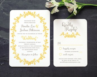 Antique French Wedding Invitation / 'Vintage Wreath' Elegant Rustic Wedding Invite / Yellow Grey Gray / Custom Colors Available / ONE SAMPLE
