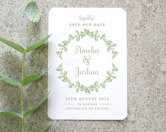 Botanical 'Save the Date' Card / 'Vintage Wreath' French Inspired Wedding Announcement / Sage Green / Custom Colours Available / ONE SAMPLE