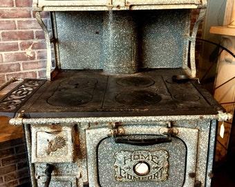 Antique Wood Stove, Granite Cook Stove, Home Comfort Graniteware Stove, Farmhouse Kitchen