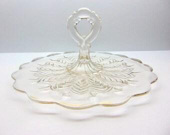 Vintage Glass Handled Serving Plate