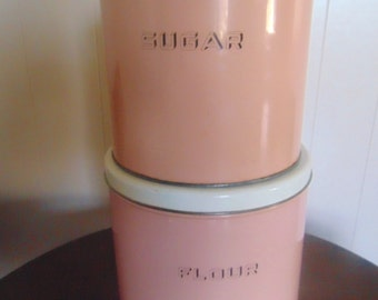 Vintage Pink Tin Cannister Set, Flour and Sugar Tins
