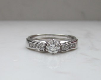 Vintage Solitaire Engagement Ring with Diamond Jacket Wedding Band Matching Wedding Set in 14k Solid White Gold, Size 6