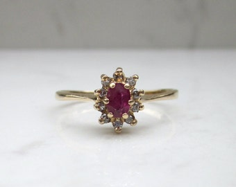 Vintage 14k Solid Yellow Gold Ruby and Diamond Halo Ring, Size 7.5 // Promise Ring // Alternate Engagement Ring //