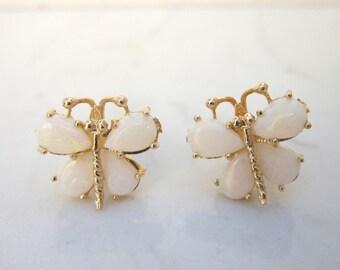 Vintage 14k Yellow Gold Butterfly White Opal Pierced Earring Studs
