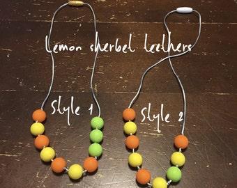 Lemon sherbert - non toxic, bpa free, food-safe- silicone teething necklace