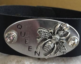 Sale-Queen Bee-stamped leather cuff-leather cuff-bee charms-rhinestone leather cuff-rhinestone bracelet
