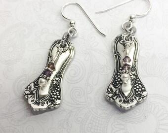"""Demitasse Spoon Earrings, Amethyst Crystals, White Pearls, Sterling Earwires, Silverware Jewelry, """"Vintage Grapes"""" 1904, Customizable"""