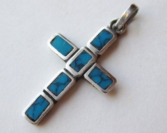 Vintage Taxco Mexican Sterling Silver Turquoise Inlay Small Cross Necklace Pendant