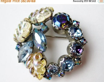 HOLIDAY SALE Vintage 50s Sparkling Iridescent Blue Rhinestone Signed WEISS Designer Brooch Pin