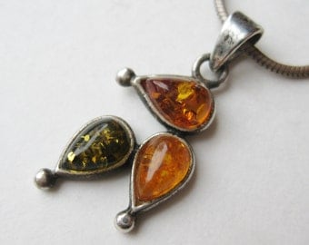 Vintage Tri Color Baltic Amber Sterling Silver Modernist Necklace Pendant & Chain