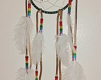 "Deer Skin Dream Catcher w/leaf and fairy Totem 5"" Hoop"