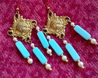 Art nouveau roses earrings