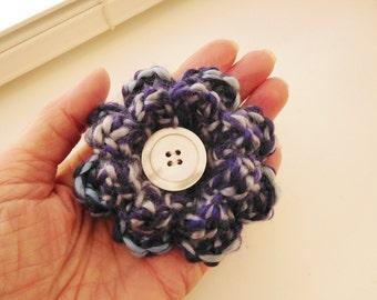 Crochet Flower Pin- Flower Pin- Flower Brooch-Purple, Gray, Blue Crochet Flower-Crochet Flower with Button-Crocheted Pin- Crochet Brooch
