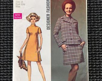 Vintage Simplicity 8501 Designer Fashion Misses Dress Jacket Sewing Pattern Size 10 UNCUT