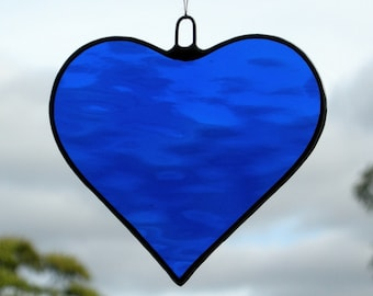 Stained Glass hanging ornament (Love Heart) Cobalt Blue rippling water glass