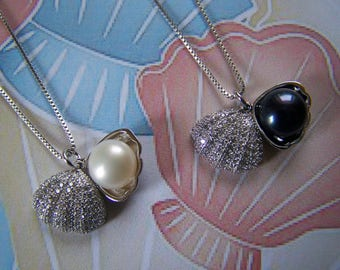Genuine Pearl Pendant Crystal Pave Clam Shell