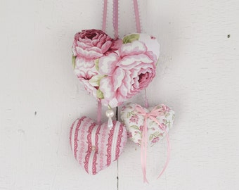 Trio of hearts Symphony Pink Roses Ornament to hang on the door or on the wall Girl's Bedroom Romantic Victorian Valentine Day