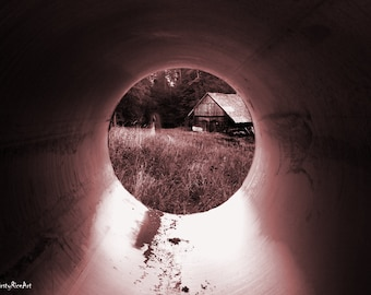 Horror Print - Tunnel, Tunnel Vision, Ghosts, old photo, Trees, A3,Horror Scene,Dark Print,Digital Art,Horror Art,Dark Art, Woods, Horror