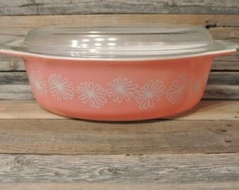 Vintage Pink Pyrex Casserole Dish, Pink Daisy Pyrex Casserole Dish