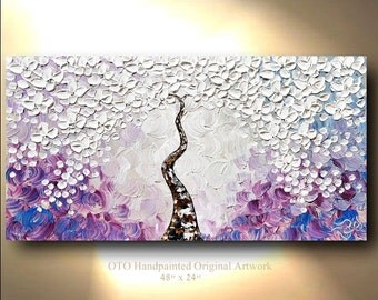 Painting Pastel Abstract Flower Tree purples and Taupe Tan Oil Acrylic Landscape Artwork Textured art by OTO