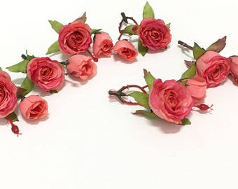 12 CORAL Roses and Buds- Silk Flowers, Artificial Flowers, Flower Crown, Millinery, Wedding, Hair Accessories, Corsage, Wreath