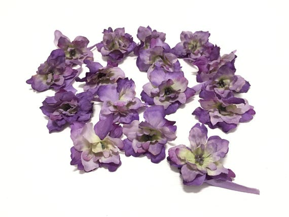 15 flowers - 2 inches - Delphinium purple artificial flowers, flowers, wreath, hats, wedding flowers, hair accessories, silk hat from BlissfulSilks at Etsy Studio