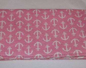 White Anchors on Pink Fabric Print Checkbook Cover Coupon Holder Clutch Purse Billfold Ready-Made