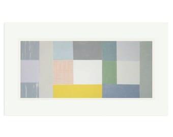 Big Fields. Large geometric abstract original silkscreen print in soft pastel colours. Handmade modern wall decor.