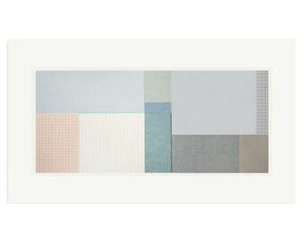 Big Fields II, large abstract minimalist geometric landscape, original screenprint with pencil by Emma Lawrenson