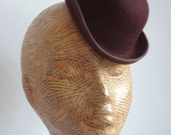 Felt Mini Bowler Hat  - Chocolate Brown