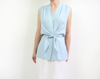 VINTAGE 1990s Tie Top Pastel Blue Sleeveless Blouse