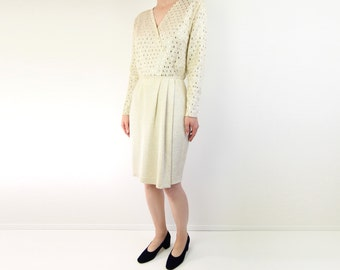 VINTAGE St. John Knit Dress Gold Metallic