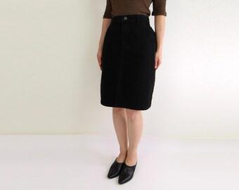 VINTAGE Black Denim Skirt 1980s Lee Jean