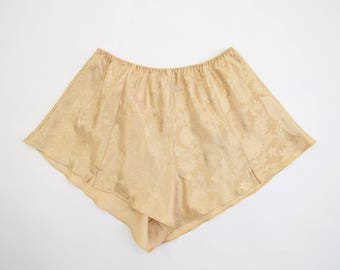 VINTAGE Gold Lingerie Shorts High Waist High Cut Tap Shorts