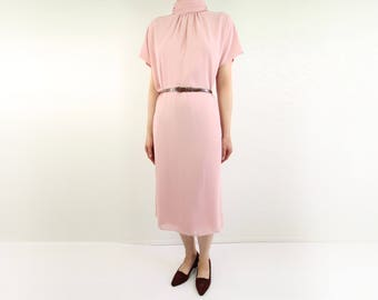 VINTAGE Pink Dress Chiffon High Collar
