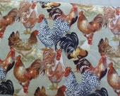 Rooster Fabric Barnyard Roosters Fabric By the Yard Sewing Supplies Quilting Supplies Craft Supplies