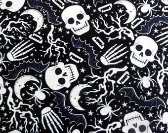 Skull Bones Fabric Glow in the Dark Skull Fabric Cotton Material Steampunk Fabric Timeless Treasures Sewing Supplies Quilting Supplies
