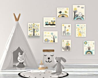 Nursery decor Kids Wall Art Nursery Decor Baby Boy Room Art Set of print Nursery Wall Art Decor Yellow Teal Gray Elephant Owl ABC Alphabet