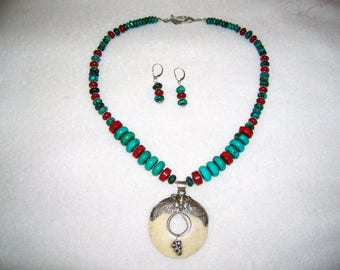 Turquoise, Coral, Sterling Silver, Bone