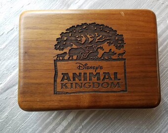 Vintage Disneys Animal Kingdom Wooden Trinket Box Green Lining