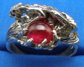 Ruby Cougar Ring, July Birthstone, Hand Crafted Sterling Silver, handmade Mountain Lion, panther, puma, tiger, big cat, Cancer, Leo, Zodiac