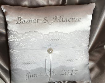 name embroidery ring bearer white or ivory pillow custom made lace satin with