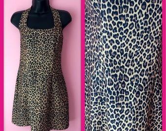 Vintage 90s Vamp Leopard Print Halter Mini Dress