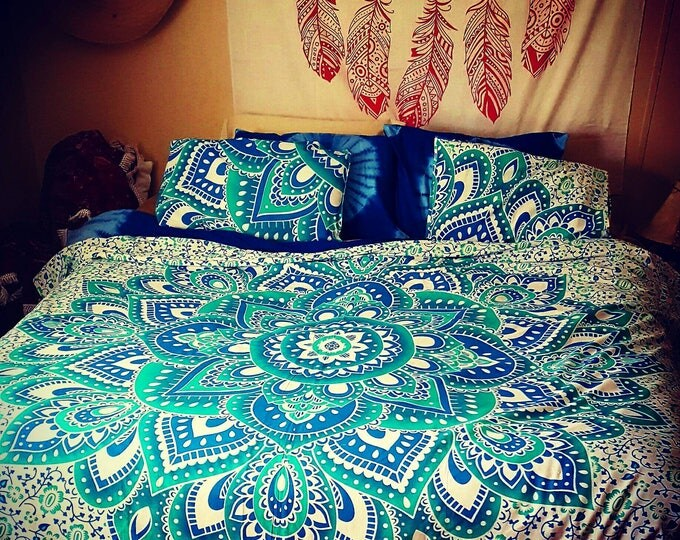Blue Green Turquoise Mandala Duvet Cover  or Flat Sheet Set with Matching Pillow Cases Hippie Boho Bedding College Bedding Gypsy Bedding
