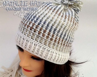 NATALIE crochet hat pattern - Winter hat crochet pattern - Child, teen and adult size! Permission to sell finished items. Pattern No. 188