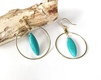 Gold Hoop Earrings, Turquoise Hoops, Large Drop Earrings, Simple Circle Jewelry, Gypsy Soul, Boho Chic Bohemian, Wire Wrapped Marquis Stone