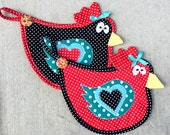 chicken, hen, rooster, bird, pot holder, hot pad, kitchen, quilted, red, black, teal