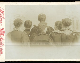 Strange & Amazing Cabinet Card Photo - Women w Backs to Camera - Dated April Fools 1896