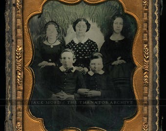 Mourning Family? <> Folk Art Painted Willow Tree <> 1/6 1850s Ambrotype Photo